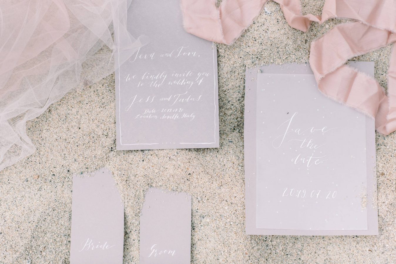 Vestuvių kvietimai su kaligrafija